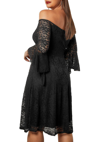 Image of Plus Size Flute Sleeve Lace Dress