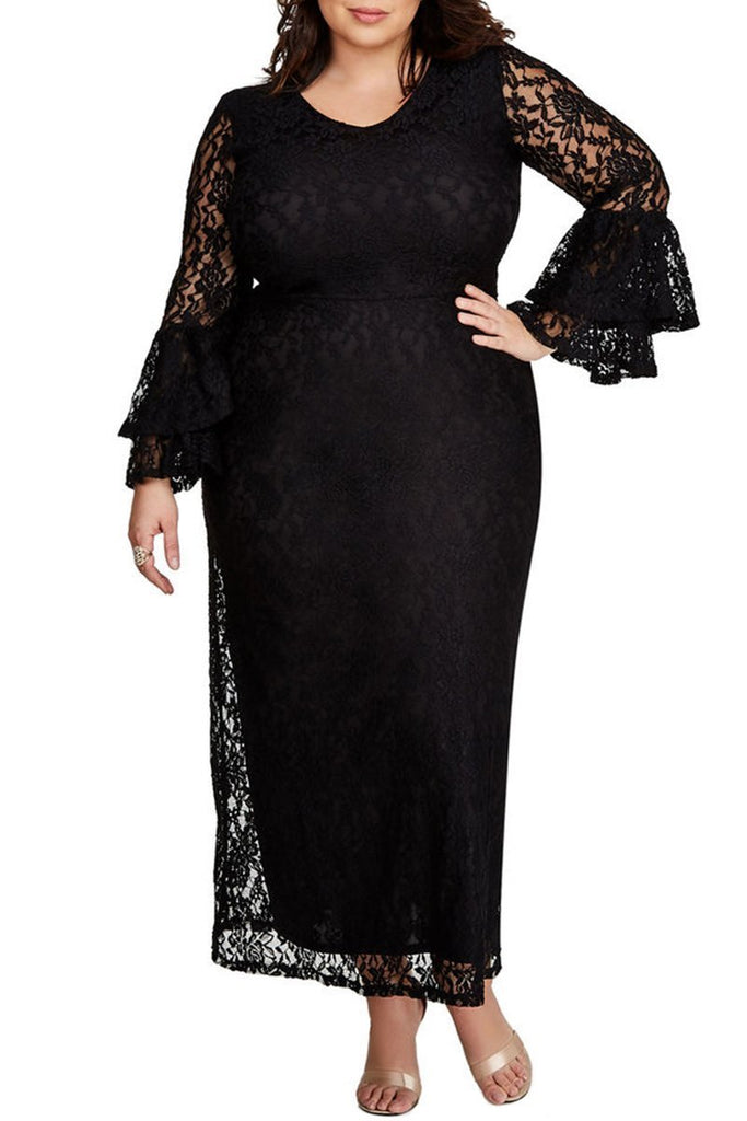 Lace Bell Sleeve Plus Size Maxi Dress