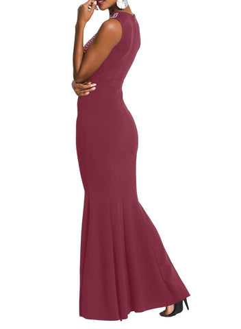 Rhinestone Embellished Sleeveless Bodycon Gown