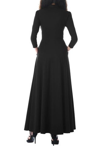 Image of Pockets 3/4 Sleeve Tie Neck Maxi Dress