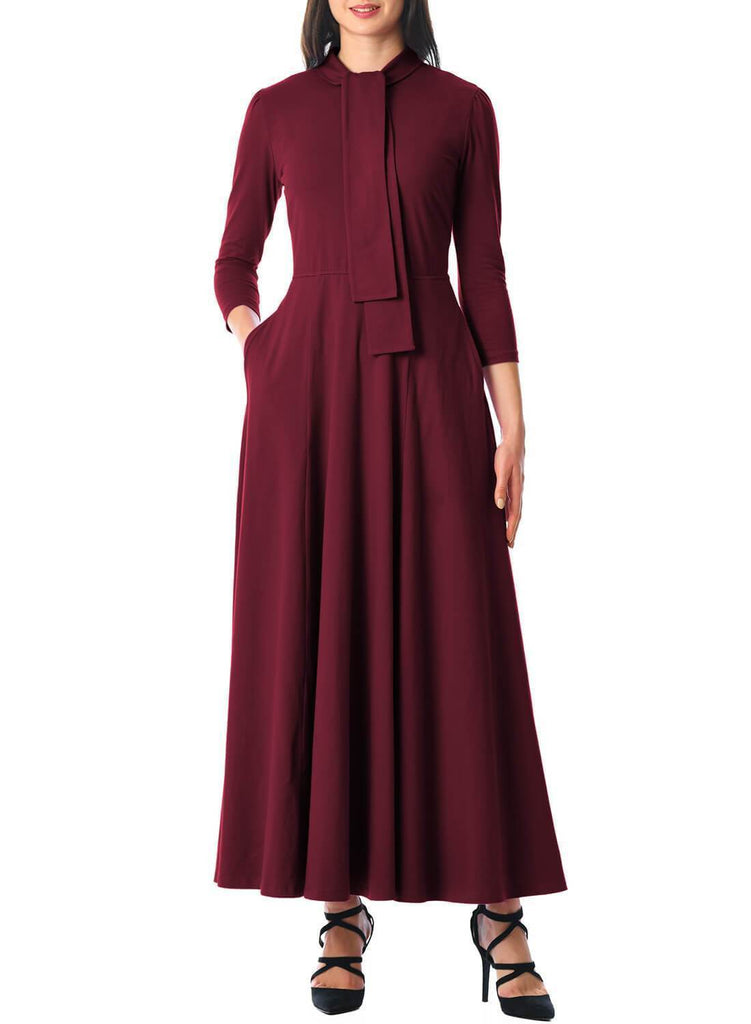 Pockets 3/4 Sleeve Tie Neck Maxi Dress