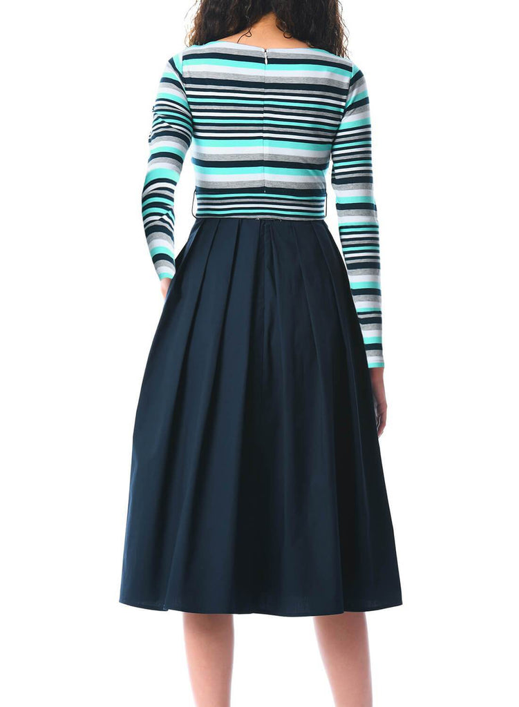 Striped Poplin Sash Tie Midi Dress
