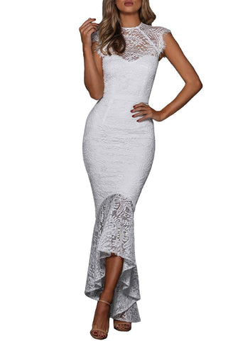 Image of Lace Overlay Bodycon Mermaid Dress
