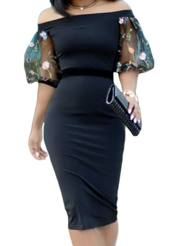Off Shoulder Lantern Sleeve Bodycon Midi Dress