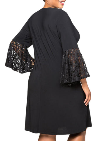 Sequin Lace Bell Sleeve Plus Size Mini Dress