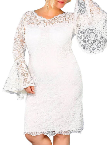 Image of Plus Size Flared Sleeve Lace Dress