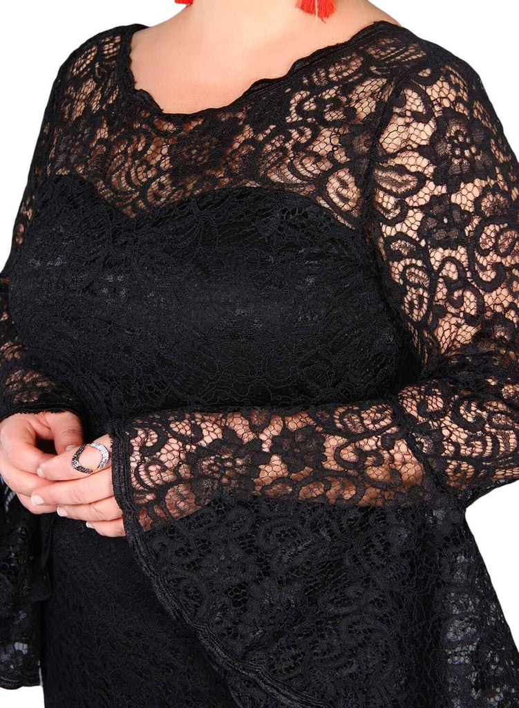 Plus Size Flared Sleeve Lace Dress