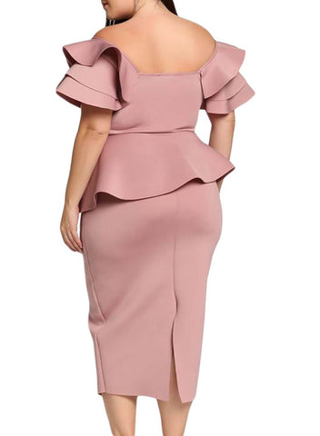 Image of Plus Size Tiered Sleeve Twisted Peplum Midi Dress
