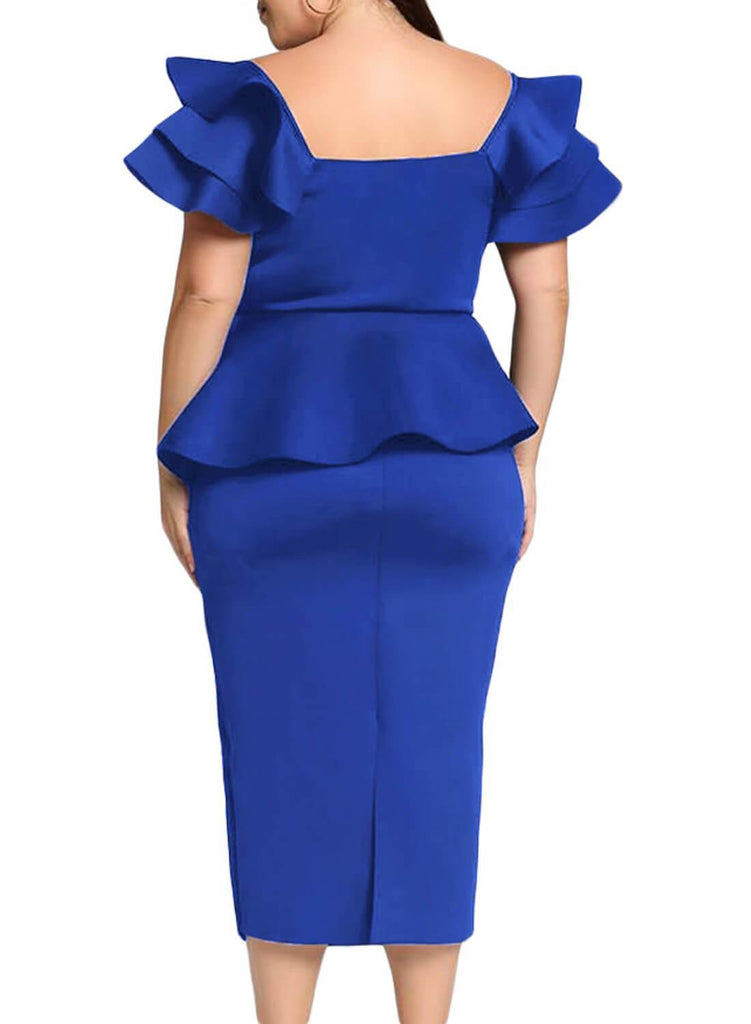 Plus Size Tiered Sleeve Twisted Peplum Midi Dress