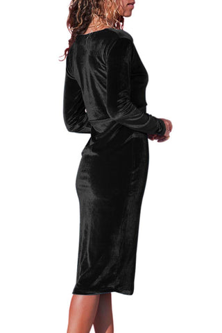 Image of V Neck Sleek Velvet Midi Dress