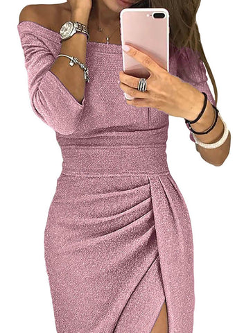 Shiny Off Shoulder Slit Bodycon Dress