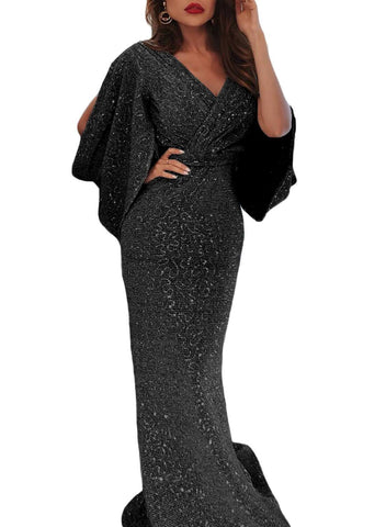 Sequin Butterfly Sleeve Floor Evening Dress