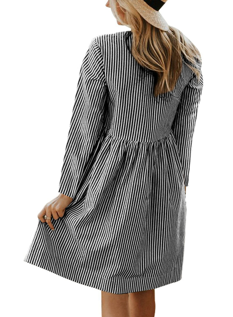 Striped Pockets Babydoll Mini Dress