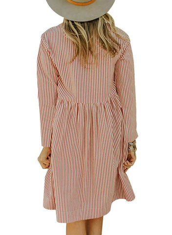 Image of Striped Pockets Babydoll Mini Dress