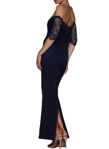 Sheer Lace Sleeve Off Shoulder Maxi Dress