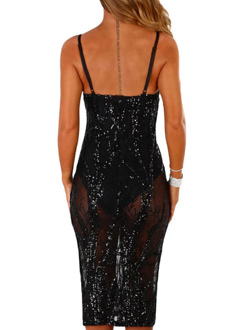 Image of Sheer Sequin Midi Bodysuit Dress