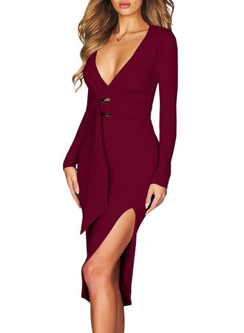 V Neck Long Sleeve Midi Dress
