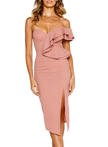 Asymmetric Ruffled One Shoulder Midi Dress (LC610928-10-1)