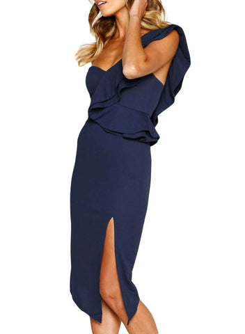 Asymmetric Ruffled One Shoulder Midi Dress (LC610928-5-3)