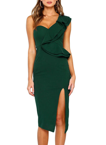 Asymmetric Ruffled One Shoulder Midi Dress (LC610928-9-1)
