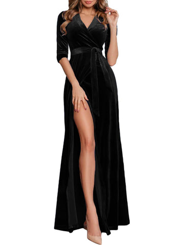 Velvet High Slits Wrap Maxi Evening Dress