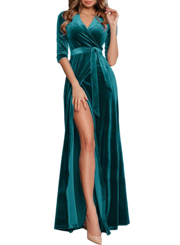 Image of Velvet High Slits Wrap Maxi Evening Dress