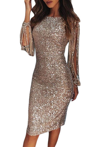 Image of Sequin Tassel Sleeve Bodycon Evening Dress