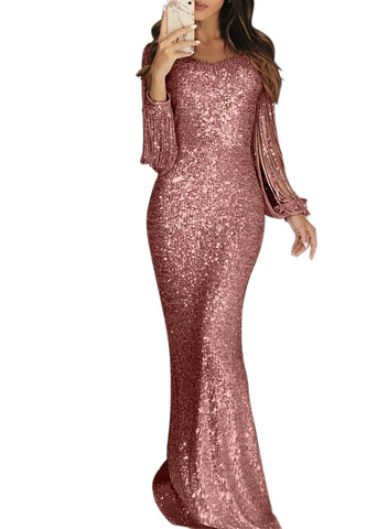 Image of Tassel Sleeve Sequin Maxi Evening Dress