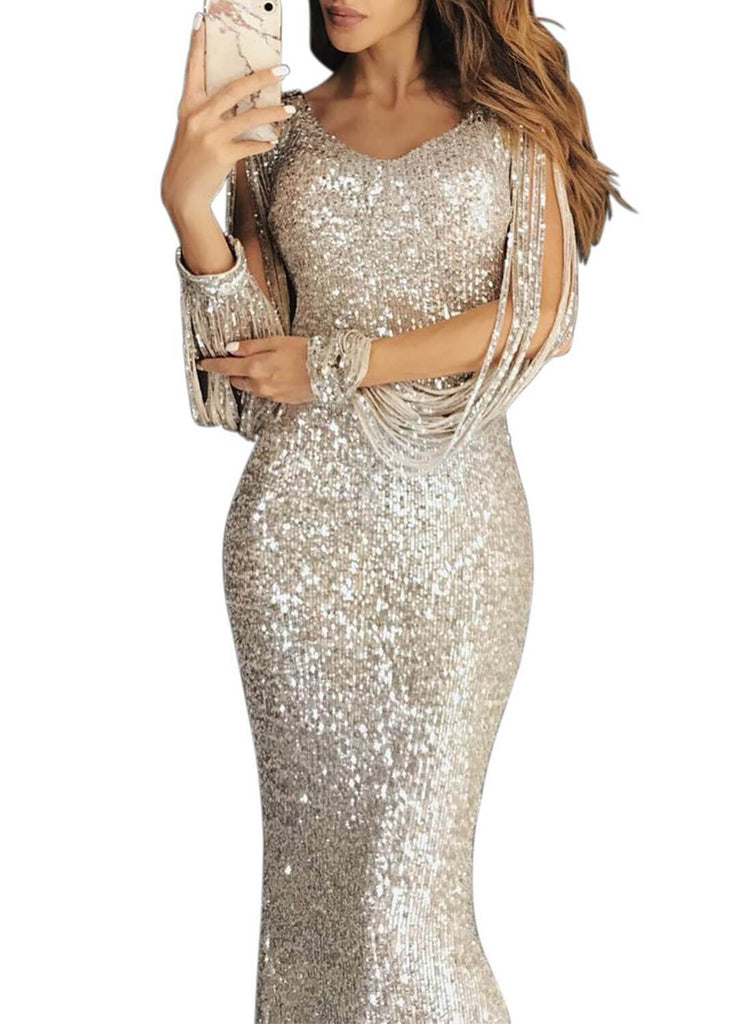 Tassel Sleeve Sequin Maxi Evening Dress