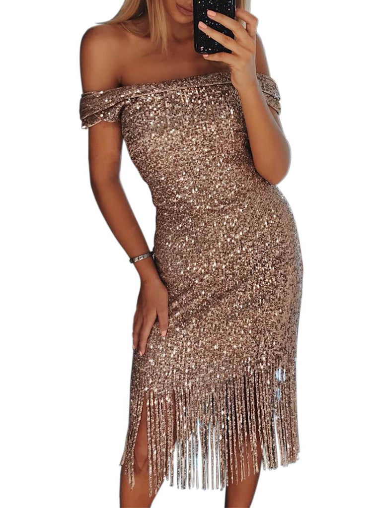 Off Shoulder Tassel Sequin Mini Dress