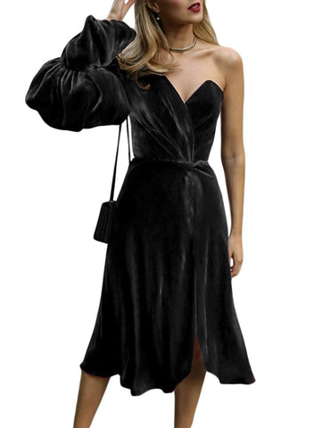Image of One-Shoulder Velvet Sweetheart Dress