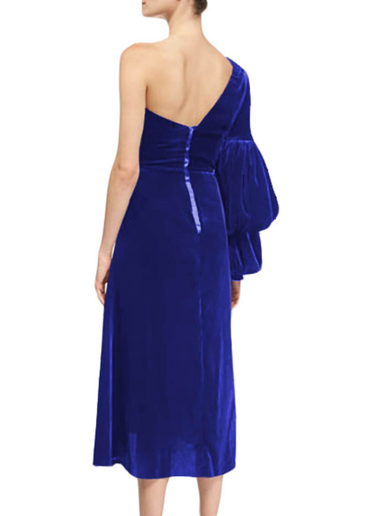 One-Shoulder Velvet Sweetheart Dress