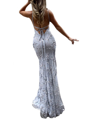 Sexy Halter Sequin Maxi Evening Dress