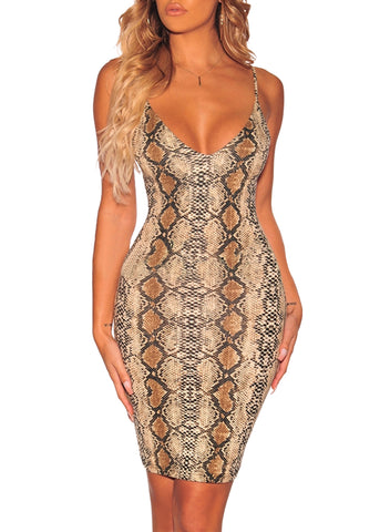 Image of Snake Print Spaghetti Straps Dress(LC611120-17-1)
