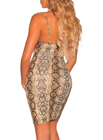 Image of Snake Print Spaghetti Straps Dress(LC611120-17-2)