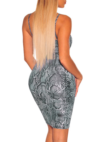 Image of Snake Print Spaghetti Straps Dress(LC611120-22-2)
