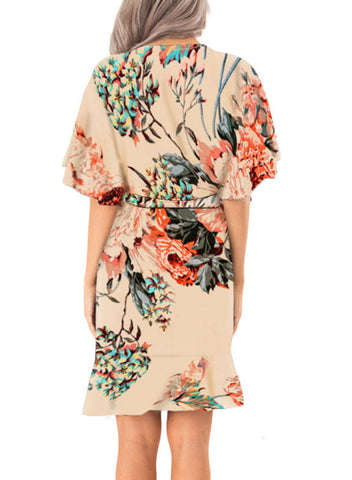 Floral Print V Neck Wrap Dress with Ruffle Sleeves(LC611134-18-2)