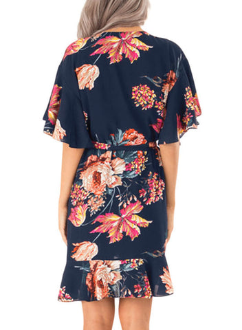 Floral Print V Neck Wrap Dress with Ruffle Sleeves(LC611134-5-2)