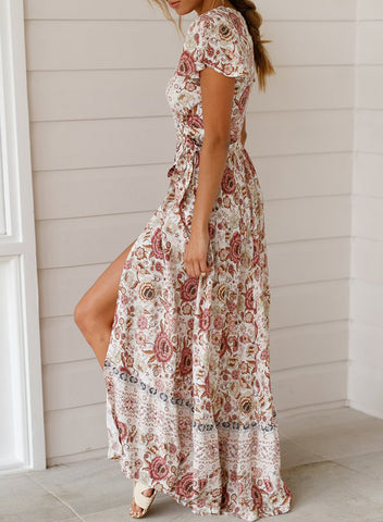 Image of V-Neck Beach Resort Printed Dress(LC611149-1-3)