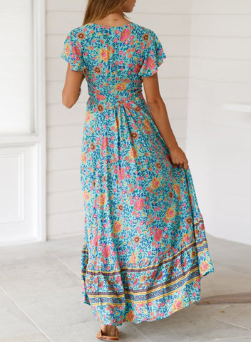 Image of V-Neck Beach Resort Printed Dress(LC611149-4-2)