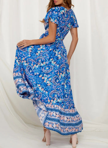Image of V-Neck Beach Resort Printed Dress(LC611149-5-2)