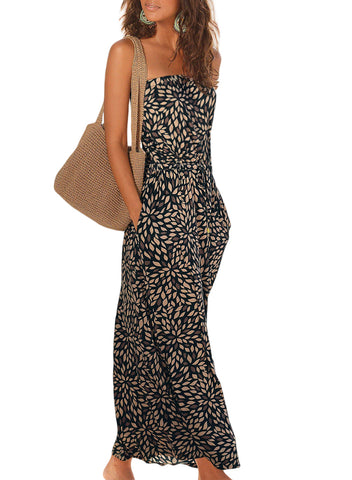 Image of Bohemian Bandeau Floral Print Maxi Dress(LC611159-2-1)