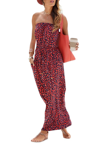 Image of Bohemian Bandeau Floral Print Maxi Dress(LC611159-3-1)