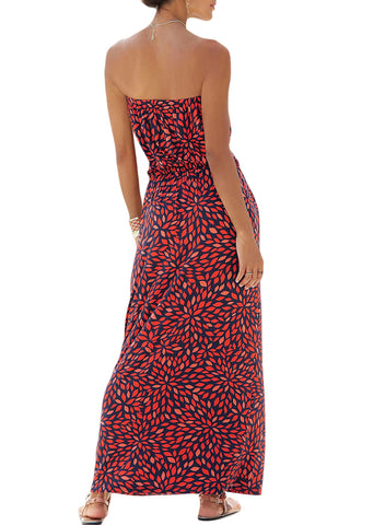 Image of Bohemian Bandeau Floral Print Maxi Dress(LC611159-3-2)