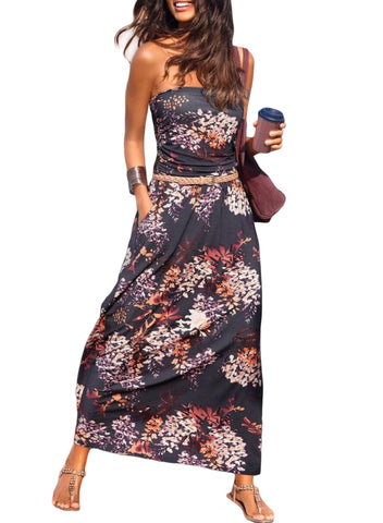 Image of Bohemian Bandeau Floral Print Maxi Dress(LC611159-8-1)