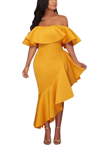 Asymmetric Ruffle Off Shoulder Party Dress