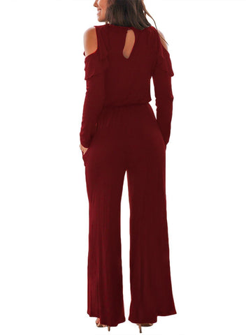 Ruffle Cold Shoulder Long Sleeve Jumpsuit