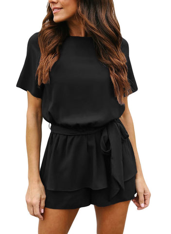Image of Short Sleeve Elastic Waist Tie Rompers