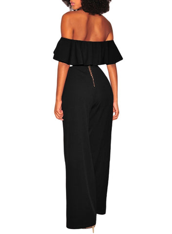 Ruffle Off Shoulder Wide Leg Jumpsuit