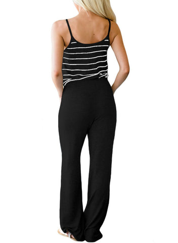 Striped Spaghetti Tank Drawstring Jumpsuit 64440